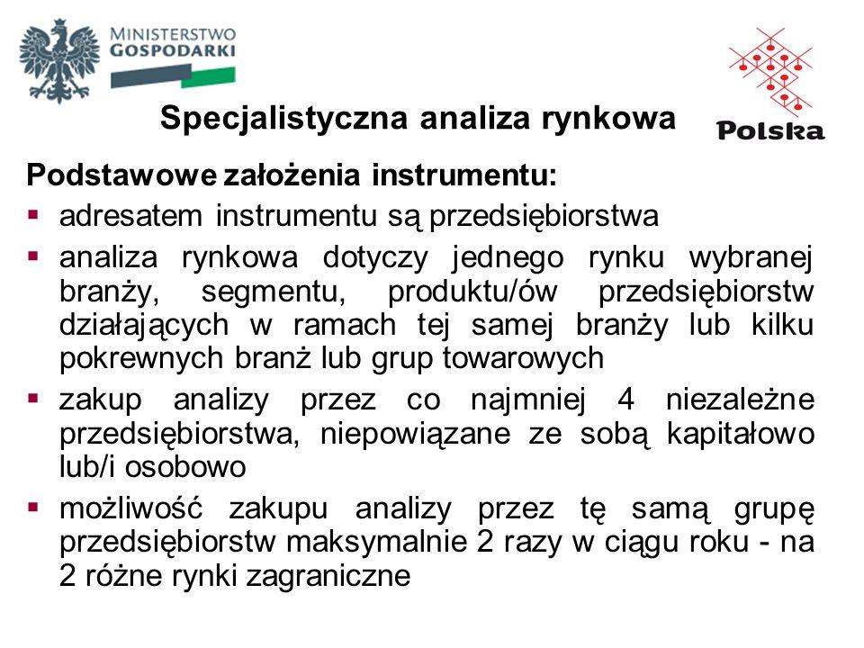 Podstawowe założenia instrumentu: adresatem instrumentu są przedsiębiorstwa analiza rynkowa dotyczy jednego rynku wybranej branży, segmentu, produktu/
