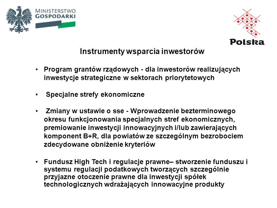 Instrumenty wsparcia inwestorów Program grantów rządowych - dla inwestorów realizujących inwestycje strategiczne w sektorach priorytetowych Specjalne