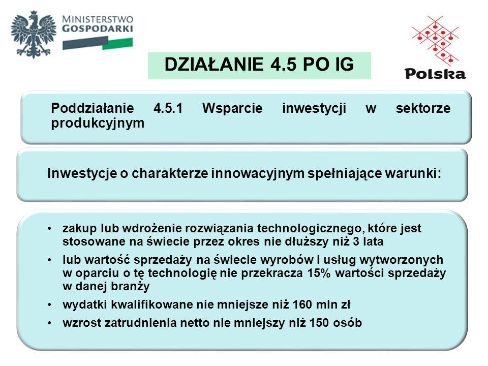 DZIAŁANIE 4.5 PO IG Poddziałanie 4.5.1 Wsparcie inwestycji w sektorze produkcyjnym Inwestycje o charakterze innowacyjnym spełniające warunki: zakup lu
