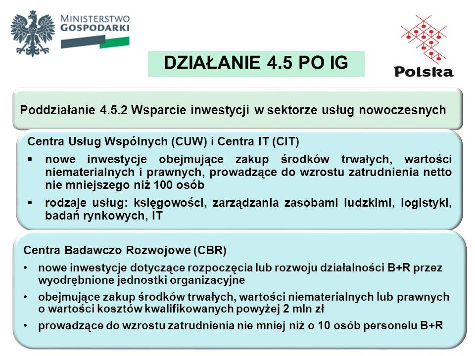 DZIAŁANIE 4.5 PO IG Poddziałanie 4.5.2 Wsparcie inwestycji w sektorze usług nowoczesnych Centra Usług Wspólnych (CUW) i Centra IT (CIT) nowe inwestycj