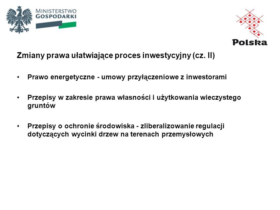Zmiany prawa ułatwiające proces inwestycyjny (cz. II) Prawo energetyczne - umowy przyłączeniowe z inwestorami Przepisy w zakresie prawa własności i uż