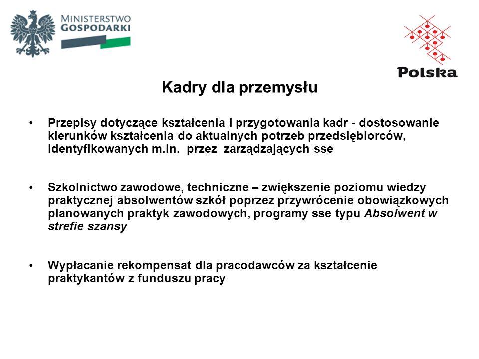 Kadry dla przemysłu Przepisy dotyczące kształcenia i przygotowania kadr - dostosowanie kierunków kształcenia do aktualnych potrzeb przedsiębiorców, id