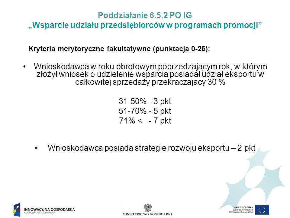 Poddziałanie 6.5.2 PO IG Wsparcie udziału przedsiębiorców w programach promocji Kryteria merytoryczne fakultatywne (punktacja 0-25): Wnioskodawca w roku obrotowym poprzedzającym rok, w którym złożył wniosek o udzielenie wsparcia posiadał udział eksportu w całkowitej sprzedaży przekraczający 30 % 31-50% - 3 pkt 51-70% - 5 pkt 71% < - 7 pkt Wnioskodawca posiada strategię rozwoju eksportu – 2 pkt