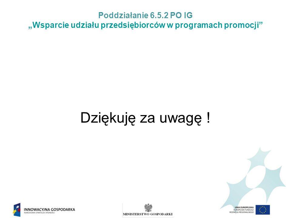 Poddziałanie 6.5.2 PO IG Wsparcie udziału przedsiębiorców w programach promocji Dziękuję za uwagę !