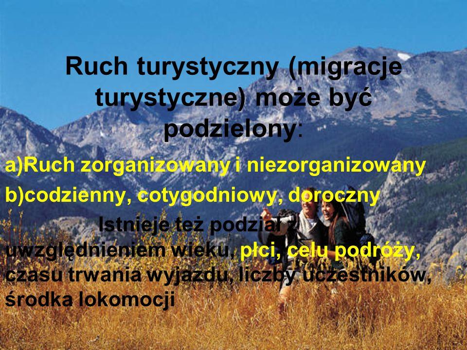 Ruch turystyczny (migracje turystyczne) może być podzielony: a)Ruch zorganizowany i niezorganizowany b)codzienny, cotygodniowy, doroczny Istnieje też