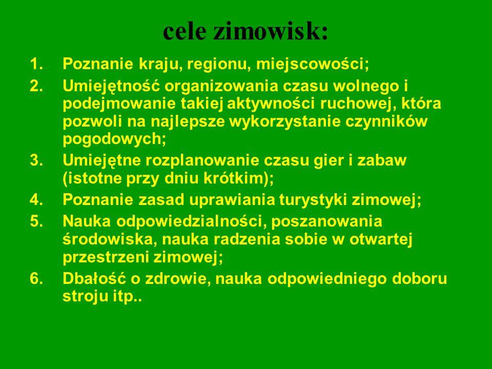 cele zimowisk: 1.Poznanie kraju, regionu, miejscowości; 2.Umiejętność organizowania czasu wolnego i podejmowanie takiej aktywności ruchowej, która poz