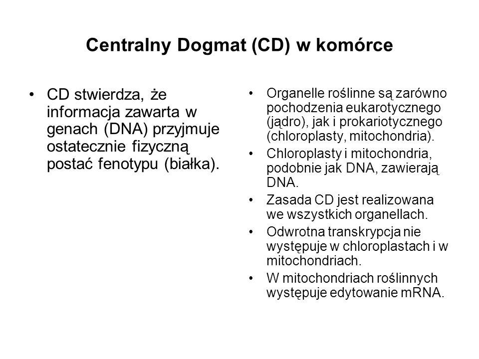 Centralny Dogmat (CD) w komórce CD stwierdza, że informacja zawarta w genach (DNA) przyjmuje ostatecznie fizyczną postać fenotypu (białka). Organelle