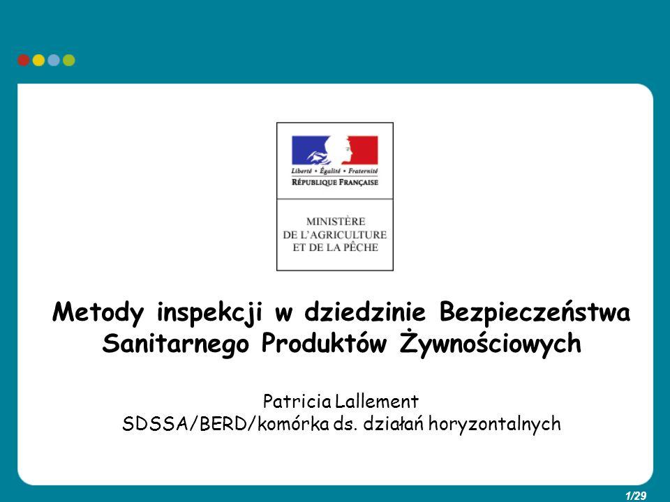 1/29 Metody inspekcji w dziedzinie Bezpieczeństwa Sanitarnego Produktów Żywnościowych Patricia Lallement SDSSA/BERD/komórka ds. działań horyzontalnych