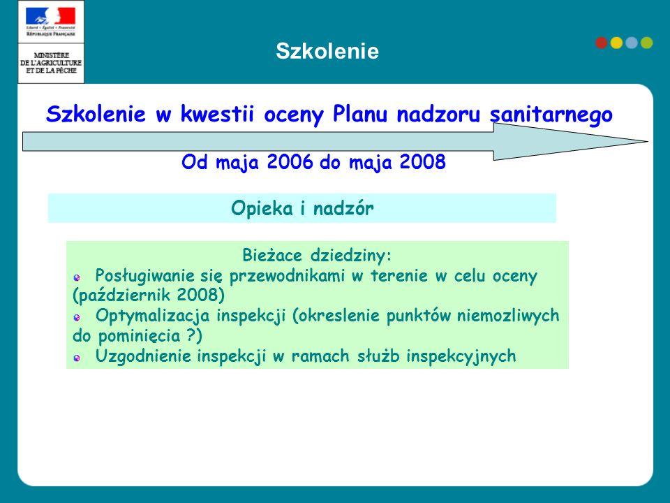 Szkolenie w kwestii oceny Planu nadzoru sanitarnego Od maja 2006 do maja 2008 Opieka i nadzór Bieżace dziedziny: Posługiwanie się przewodnikami w tere