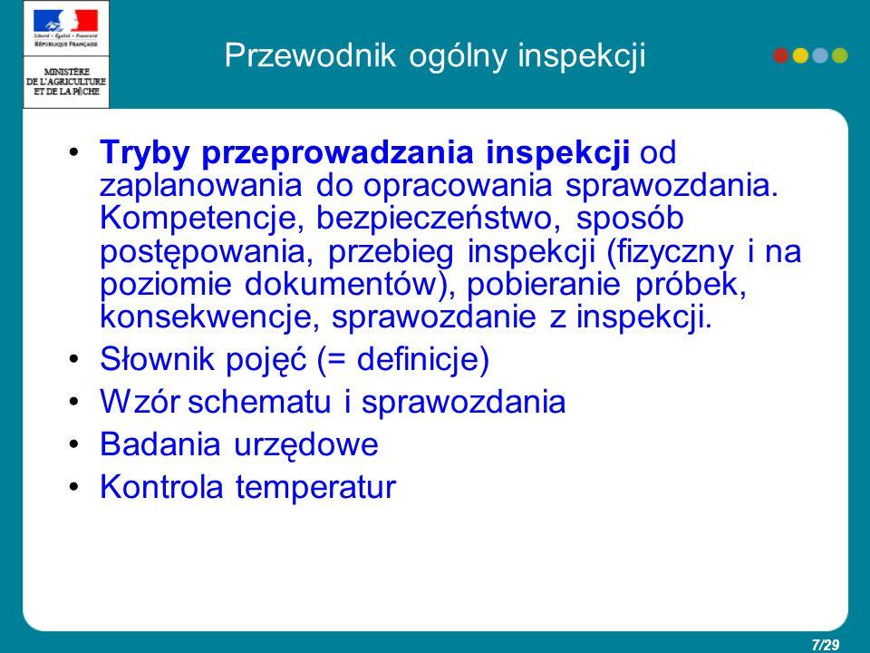 8/29 Schemat inspekcji « 5 S » : -Środowisko: A = pomieszczenia -Sprzęt: B = wyposażenie -Siła robocza: C= personel -Surowce : D = Surowce -Sposób: E = Metoda działania F= zezwolenie, upoważnienia, zwolnienia,deklaracje G = Dokumenty prowadzone na bieżąco H = Plan nadzoru sanitarnego Inspekcja w zakładzie Inspekcja na poziomie dokumentów