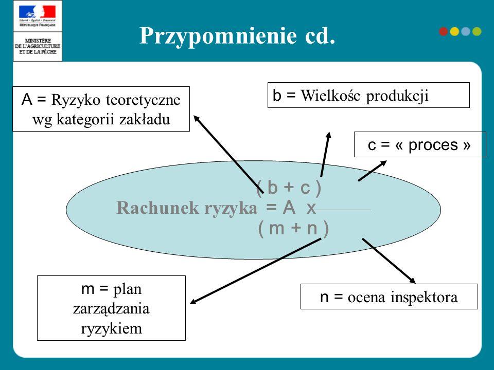 Przypomnienie cd. ( b + c ) Rachunek ryzyka = A x ( m + n ) A = Ryzyko teoretyczne wg kategorii zakładu b = Wielkośc produkcji m = plan zarządzania ry