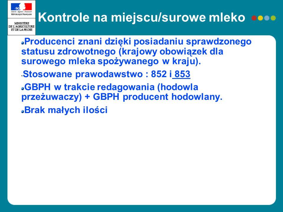 Kontrole na miejscu / miód Deklaracja pszczelarzy, bardzo liczni mali producenci Kontrole /choroby uznane za zakaźne, ale nie koniecznie dla produkcji pierwotnej Zastosowanie 852 ; sprecyzowanie obszaru w dokumencie dodatkowym (odwirowanie) Małe ilości