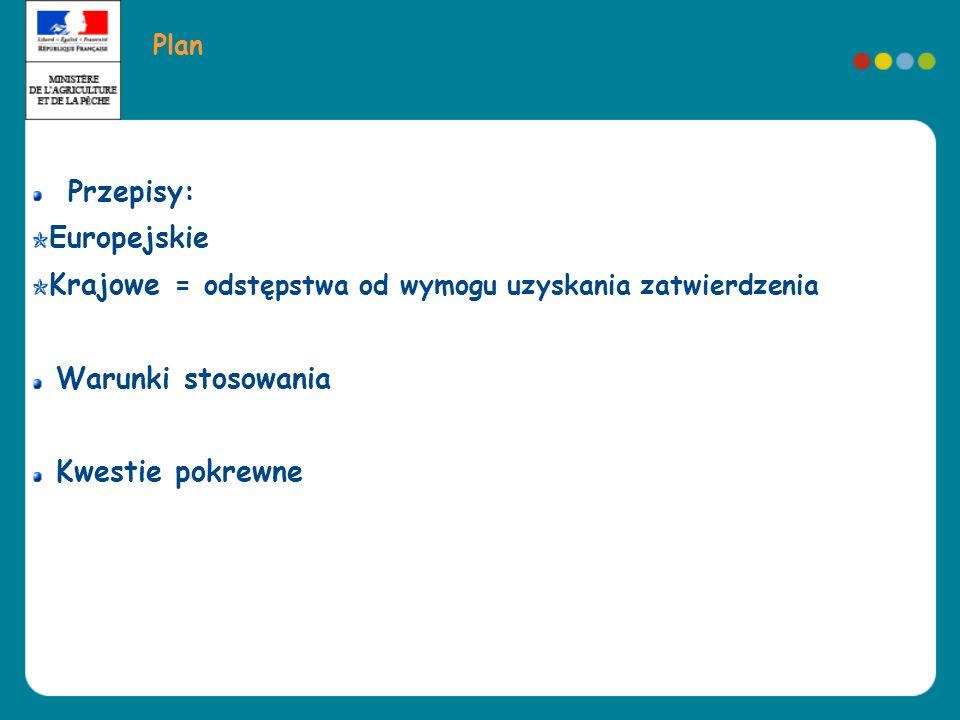 Plan Przepisy: Europejskie Krajowe = odstępstwa od wymogu uzyskania zatwierdzenia Warunki stosowania Kwestie pokrewne