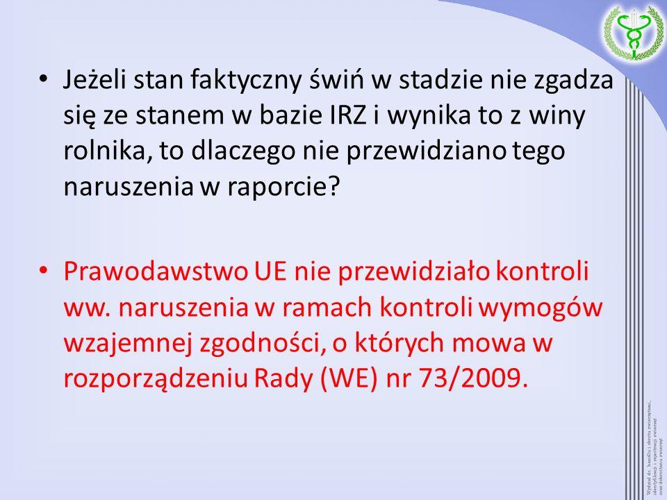 Jeżeli stan faktyczny świń w stadzie nie zgadza się ze stanem w bazie IRZ i wynika to z winy rolnika, to dlaczego nie przewidziano tego naruszenia w r