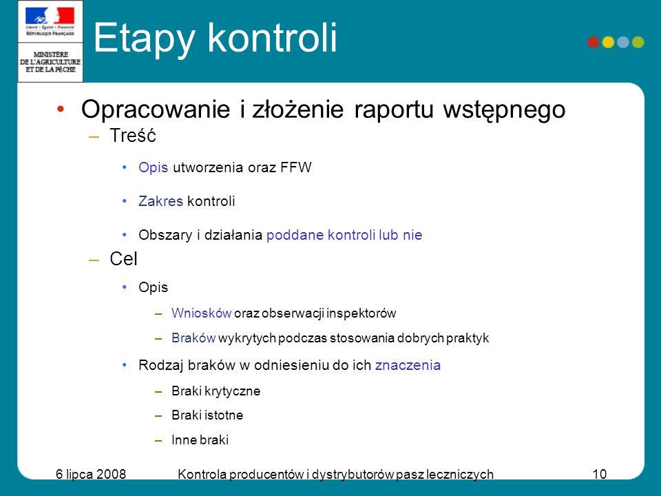 6 lipca 2008Kontrola producentów i dystrybutorów pasz leczniczych10 Opracowanie i złożenie raportu wstępnego –Treść Opis utworzenia oraz FFW Zakres ko