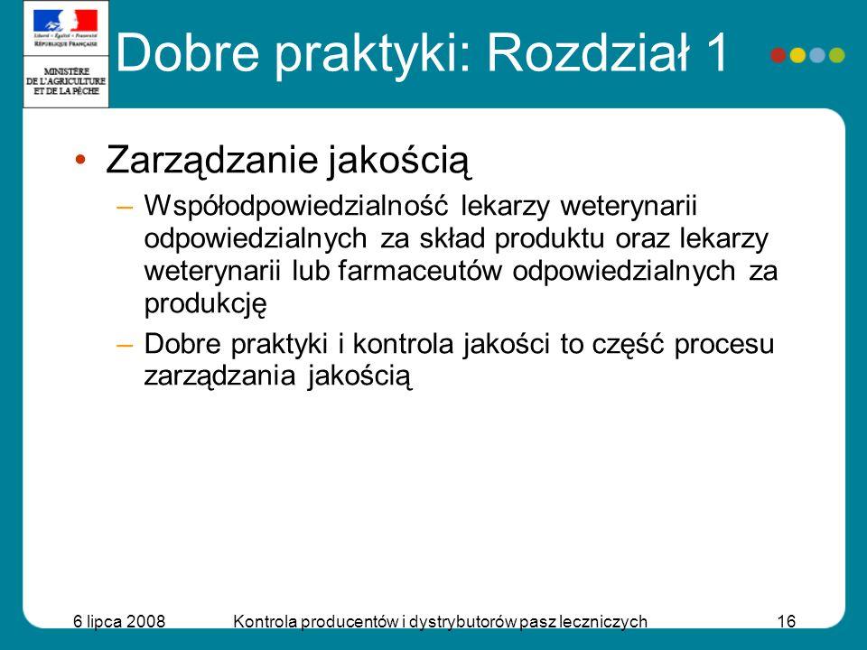 6 lipca 2008Kontrola producentów i dystrybutorów pasz leczniczych16 Dobre praktyki: Rozdział 1 Zarządzanie jakością –Współodpowiedzialność lekarzy wet