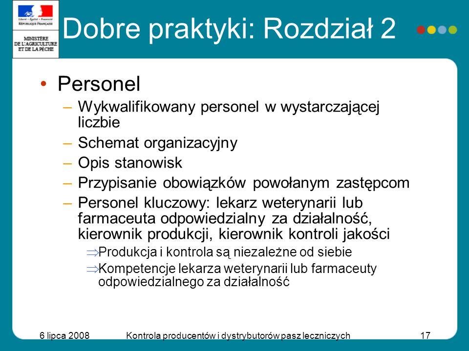 6 lipca 2008Kontrola producentów i dystrybutorów pasz leczniczych17 Dobre praktyki: Rozdział 2 Personel –Wykwalifikowany personel w wystarczającej lic