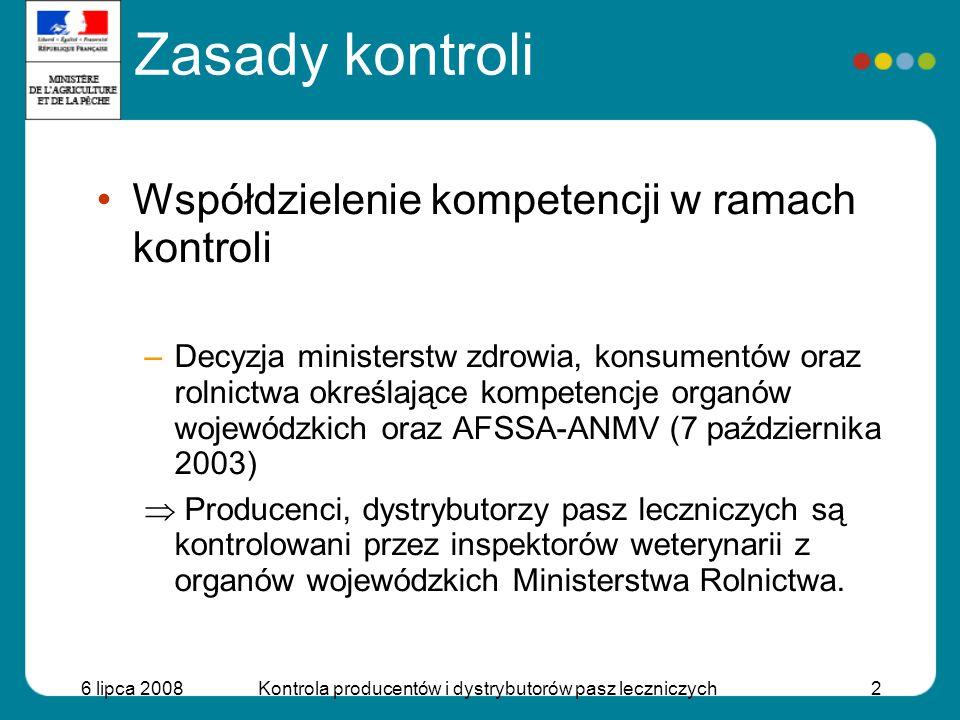 6 lipca 2008Kontrola producentów i dystrybutorów pasz leczniczych2 Zasady kontroli Współdzielenie kompetencji w ramach kontroli –Decyzja ministerstw z