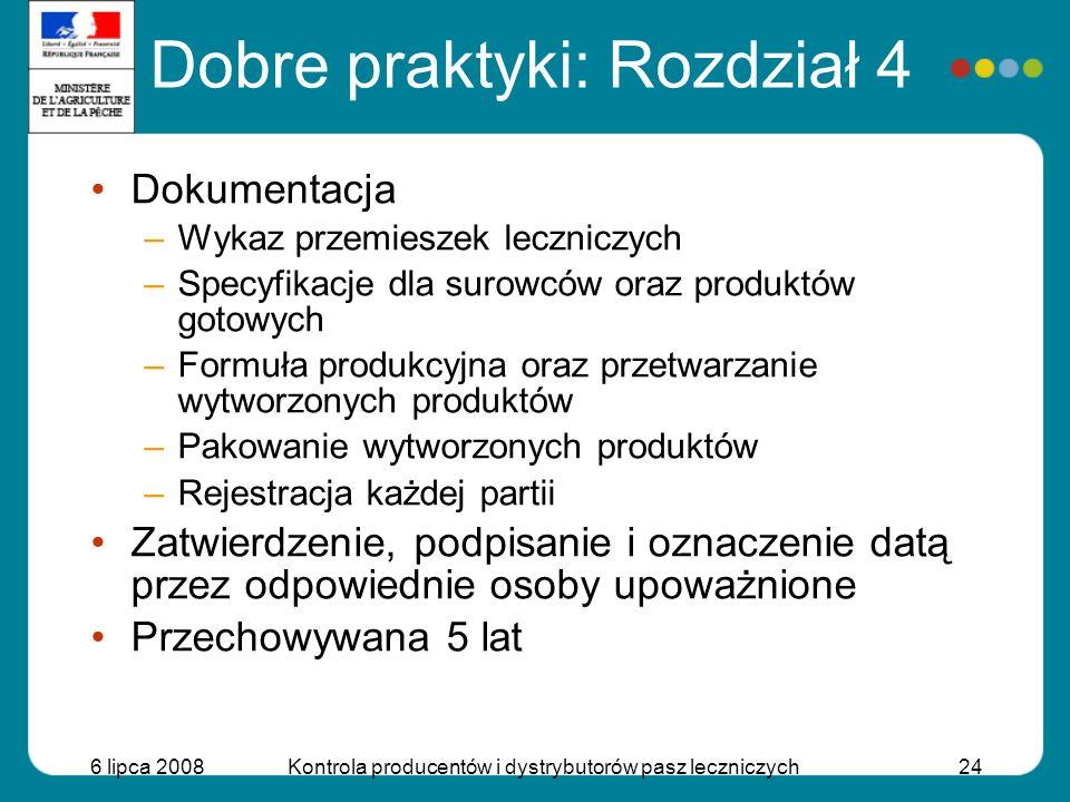 6 lipca 2008Kontrola producentów i dystrybutorów pasz leczniczych24 Dokumentacja –Wykaz przemieszek leczniczych –Specyfikacje dla surowców oraz produk