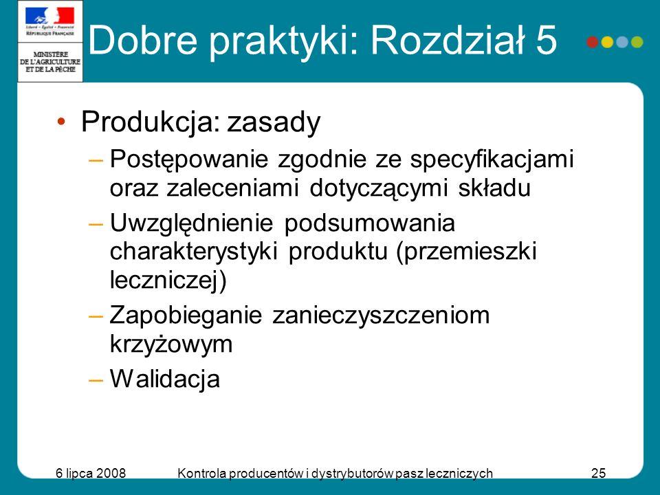 6 lipca 2008Kontrola producentów i dystrybutorów pasz leczniczych25 Produkcja: zasady –Postępowanie zgodnie ze specyfikacjami oraz zaleceniami dotyczą