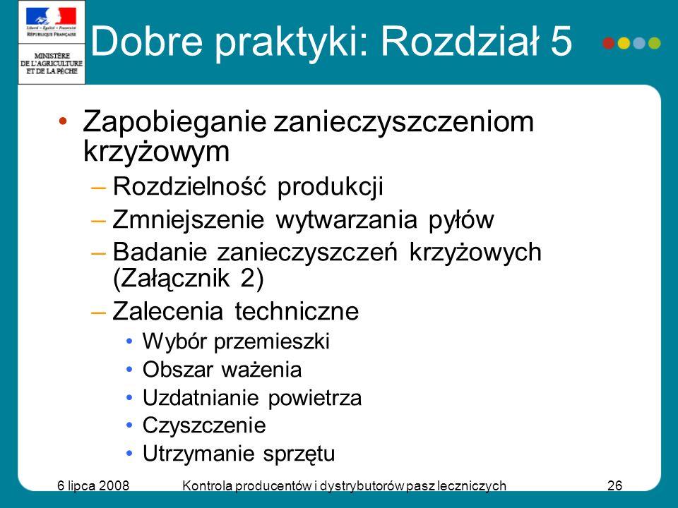 6 lipca 2008Kontrola producentów i dystrybutorów pasz leczniczych26 Zapobieganie zanieczyszczeniom krzyżowym –Rozdzielność produkcji –Zmniejszenie wyt