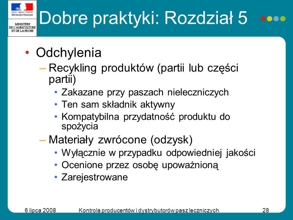 6 lipca 2008Kontrola producentów i dystrybutorów pasz leczniczych28 Odchylenia –Recykling produktów (partii lub części partii) Zakazane przy paszach n