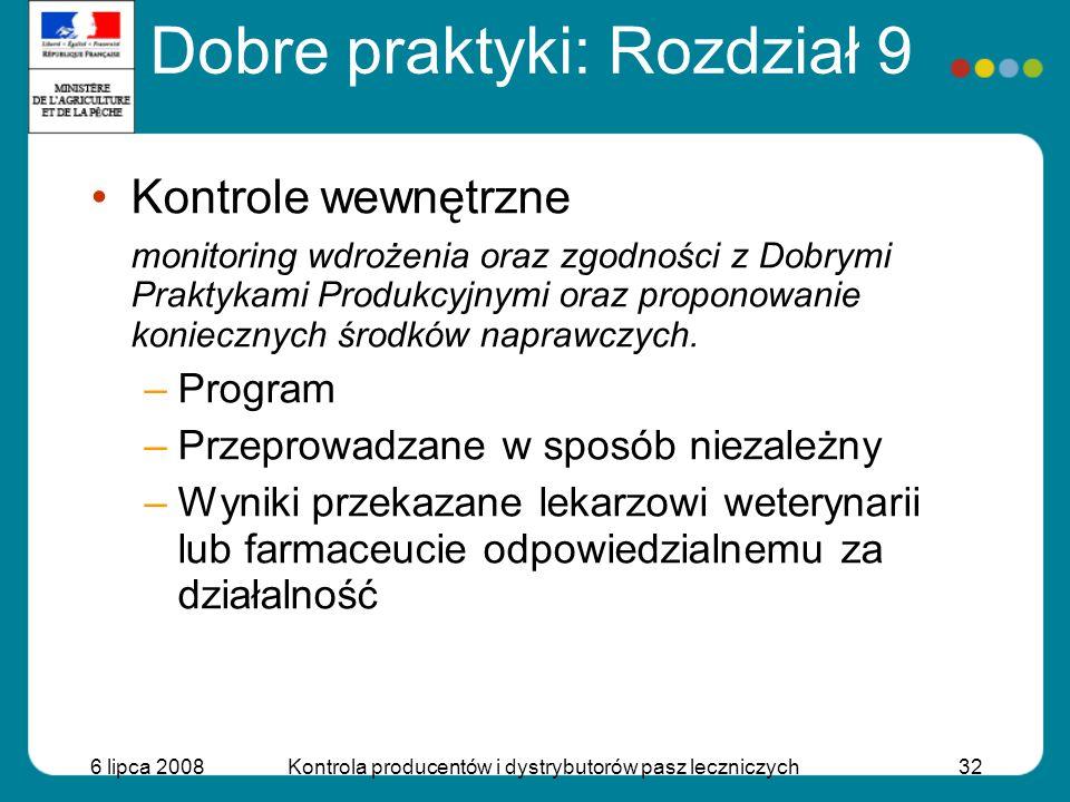 6 lipca 2008Kontrola producentów i dystrybutorów pasz leczniczych32 Kontrole wewnętrzne monitoring wdrożenia oraz zgodności z Dobrymi Praktykami Produ