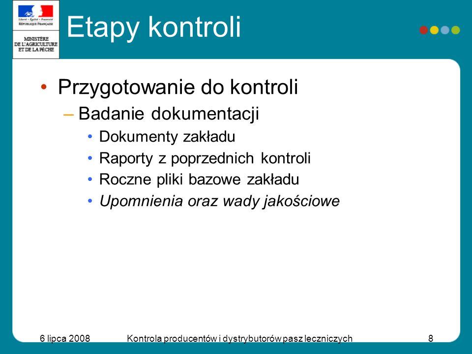 6 lipca 2008Kontrola producentów i dystrybutorów pasz leczniczych8 Przygotowanie do kontroli –Badanie dokumentacji Dokumenty zakładu Raporty z poprzed
