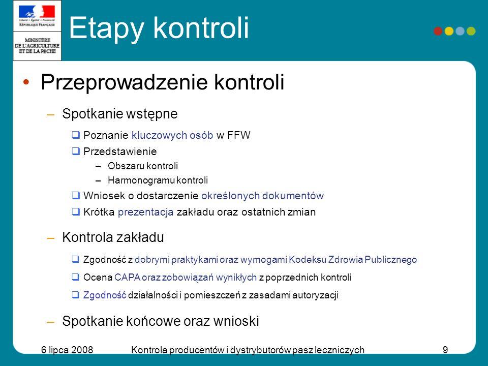 6 lipca 2008Kontrola producentów i dystrybutorów pasz leczniczych9 Etapy kontroli Przeprowadzenie kontroli –Spotkanie wstępne Poznanie kluczowych osób