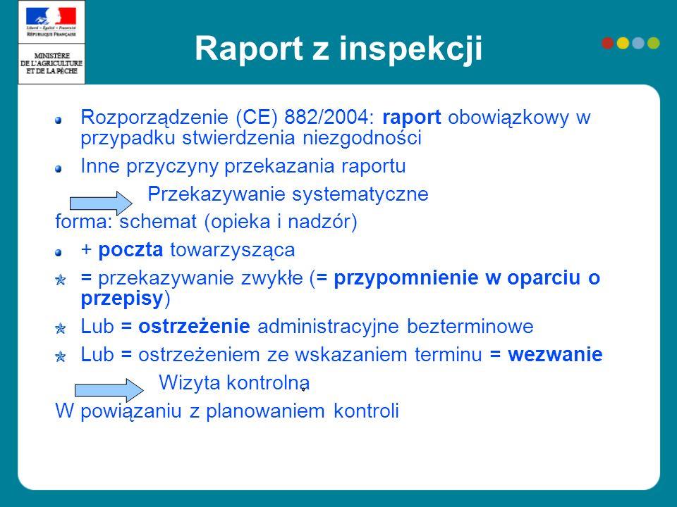 Raport z inspekcji Rozporządzenie (CE) 882/2004: raport obowiązkowy w przypadku stwierdzenia niezgodności Inne przyczyny przekazania raportu Przekazyw