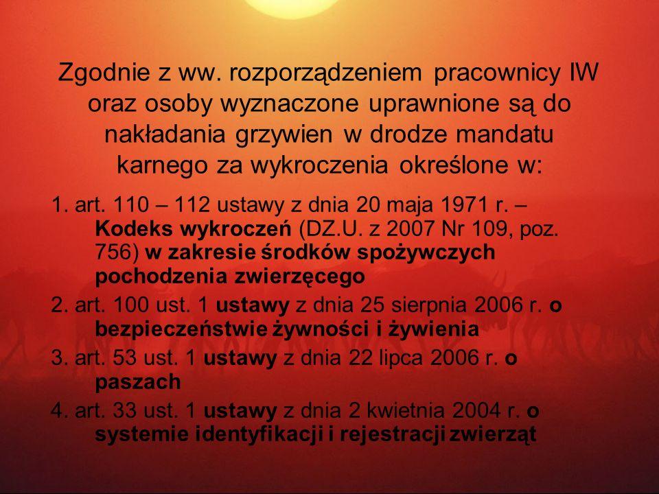 Zgodnie z ww. rozporządzeniem pracownicy IW oraz osoby wyznaczone uprawnione są do nakładania grzywien w drodze mandatu karnego za wykroczenia określo