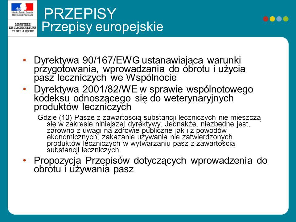 Przepisy europejskie Dyrektywa 90/167/EWG ustanawiająca warunki przygotowania, wprowadzania do obrotu i użycia pasz leczniczych we Wspólnocie Dyrektywa 2001/82/WE w sprawie wspólnotowego kodeksu odnoszącego się do weterynaryjnych produktów leczniczych Gdzie (10) Pasze z zawartością substancji leczniczych nie mieszczą się w zakresie niniejszej dyrektywy.