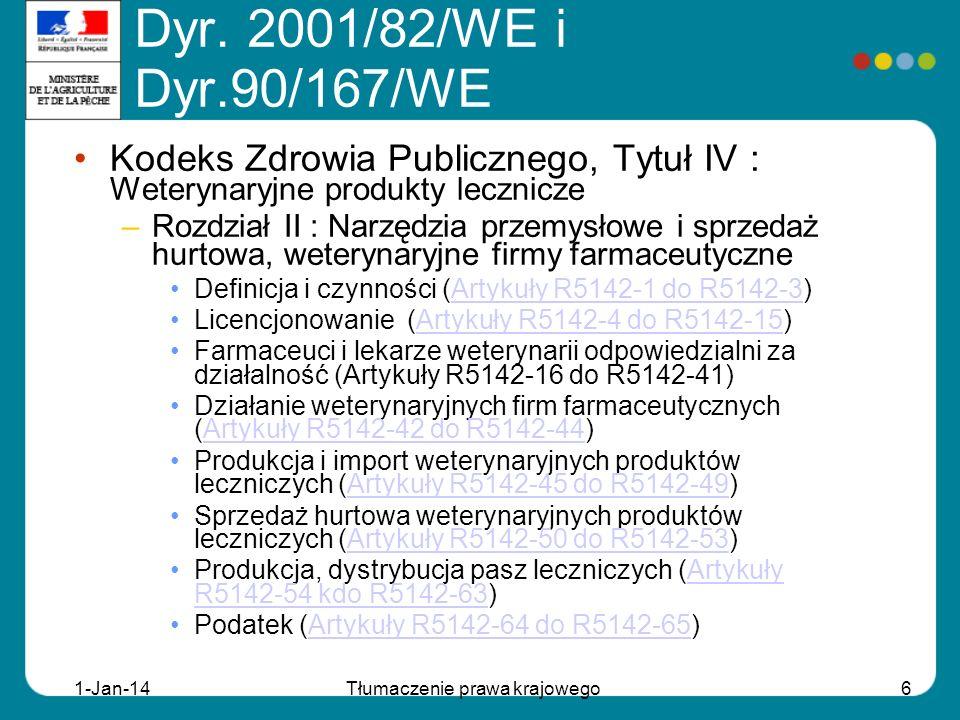 1-Jan-14Tłumaczenie prawa krajowego6 Kodeks Zdrowia Publicznego, Tytuł IV : Weterynaryjne produkty lecznicze –Rozdział II : Narzędzia przemysłowe i sprzedaż hurtowa, weterynaryjne firmy farmaceutyczne Definicja i czynności (Artykuły R5142-1 do R5142-3)Artykuły R5142-1 do R5142-3 Licencjonowanie (Artykuły R5142-4 do R5142-15)Artykuły R5142-4 do R5142-15 Farmaceuci i lekarze weterynarii odpowiedzialni za działalność (Artykuły R5142-16 do R5142-41) Działanie weterynaryjnych firm farmaceutycznych (Artykuły R5142-42 do R5142-44)Artykuły R5142-42 do R5142-44 Produkcja i import weterynaryjnych produktów leczniczych (Artykuły R5142-45 do R5142-49)Artykuły R5142-45 do R5142-49 Sprzedaż hurtowa weterynaryjnych produktów leczniczych (Artykuły R5142-50 do R5142-53)Artykuły R5142-50 do R5142-53 Produkcja, dystrybucja pasz leczniczych (Artykuły R5142-54 kdo R5142-63)Artykuły R5142-54 kdo R5142-63 Podatek (Artykuły R5142-64 do R5142-65)Artykuły R5142-64 do R5142-65 Dyr.