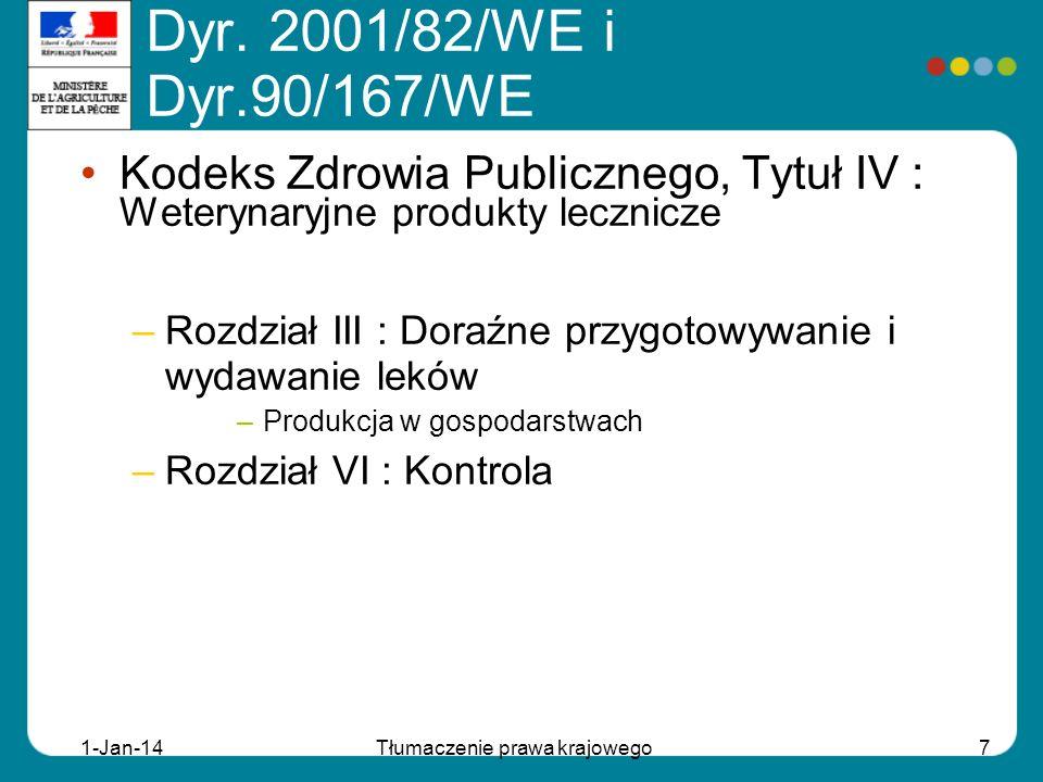 1-Jan-14Tłumaczenie prawa krajowego7 Kodeks Zdrowia Publicznego, Tytuł IV : Weterynaryjne produkty lecznicze –Rozdział III : Doraźne przygotowywanie i
