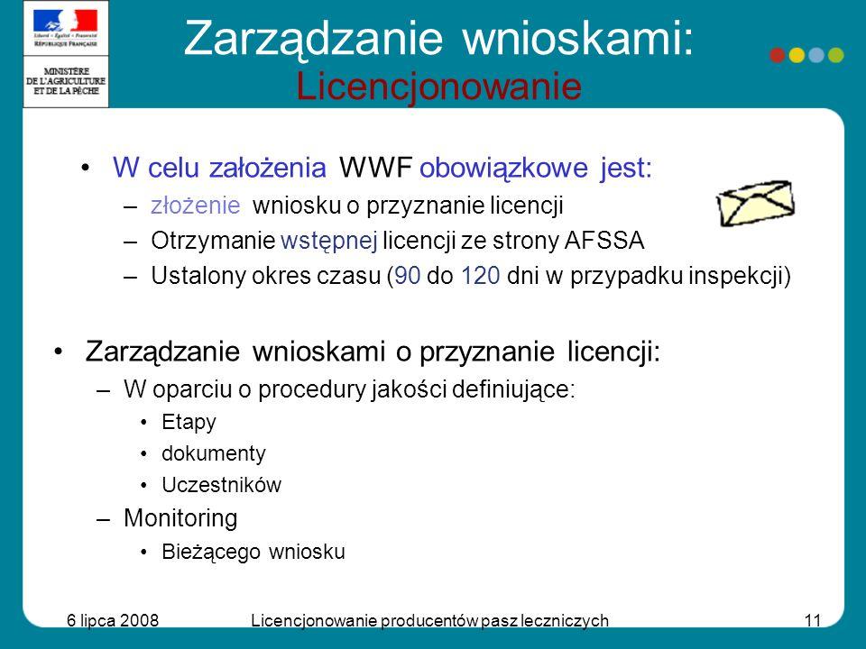 6 lipca 2008Licencjonowanie producentów pasz leczniczych11 Zarządzanie wnioskami: Licencjonowanie W celu założenia WWF obowiązkowe jest: –złożenie wni
