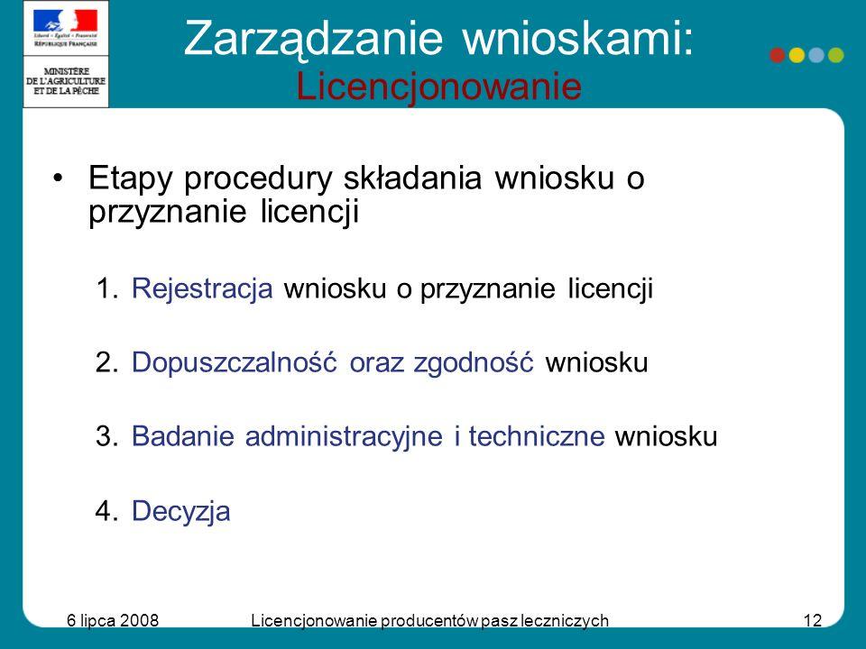 6 lipca 2008Licencjonowanie producentów pasz leczniczych12 Etapy procedury składania wniosku o przyznanie licencji 1.Rejestracja wniosku o przyznanie