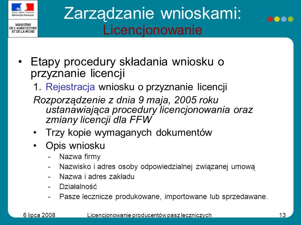 6 lipca 2008Licencjonowanie producentów pasz leczniczych13 Etapy procedury składania wniosku o przyznanie licencji 1.Rejestracja wniosku o przyznanie