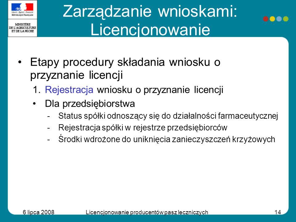 6 lipca 2008Licencjonowanie producentów pasz leczniczych14 Etapy procedury składania wniosku o przyznanie licencji 1.Rejestracja wniosku o przyznanie