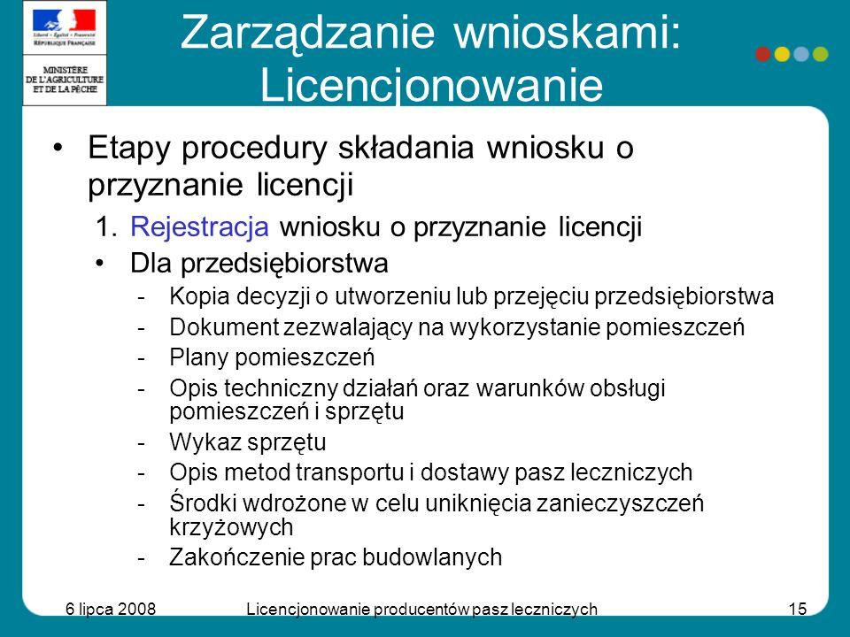 6 lipca 2008Licencjonowanie producentów pasz leczniczych15 Etapy procedury składania wniosku o przyznanie licencji 1.Rejestracja wniosku o przyznanie