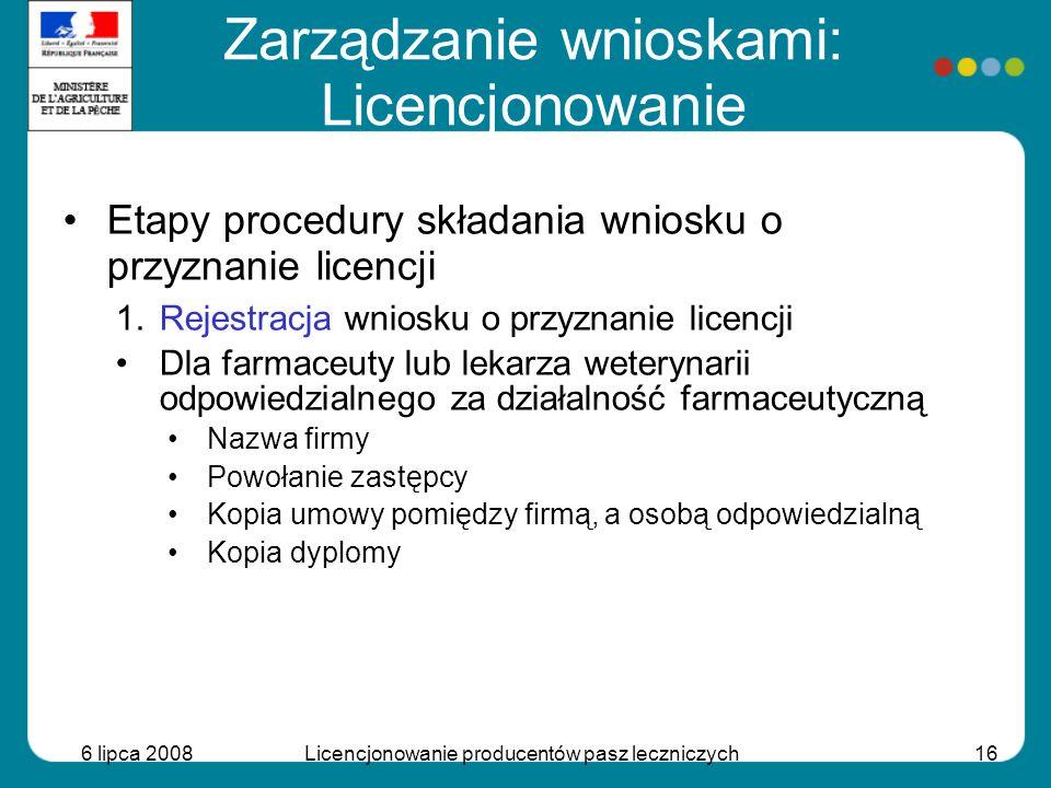 6 lipca 2008Licencjonowanie producentów pasz leczniczych16 Etapy procedury składania wniosku o przyznanie licencji 1.Rejestracja wniosku o przyznanie