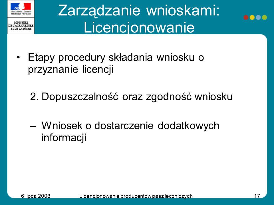 6 lipca 2008Licencjonowanie producentów pasz leczniczych17 Etapy procedury składania wniosku o przyznanie licencji 2.Dopuszczalność oraz zgodność wnio