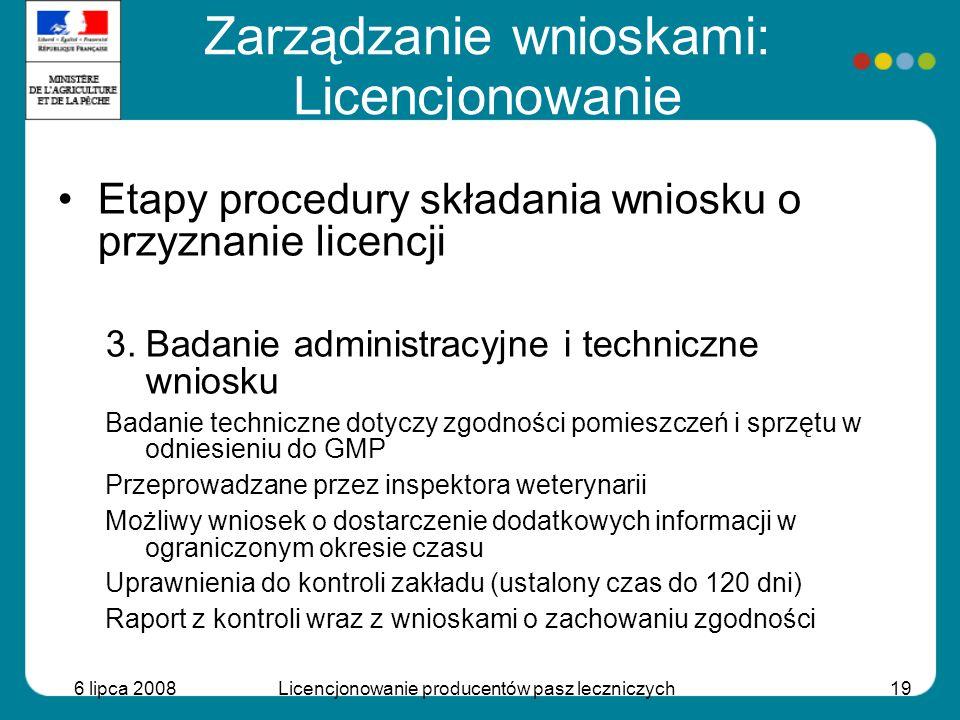 6 lipca 2008Licencjonowanie producentów pasz leczniczych19 Etapy procedury składania wniosku o przyznanie licencji 3.Badanie administracyjne i technic