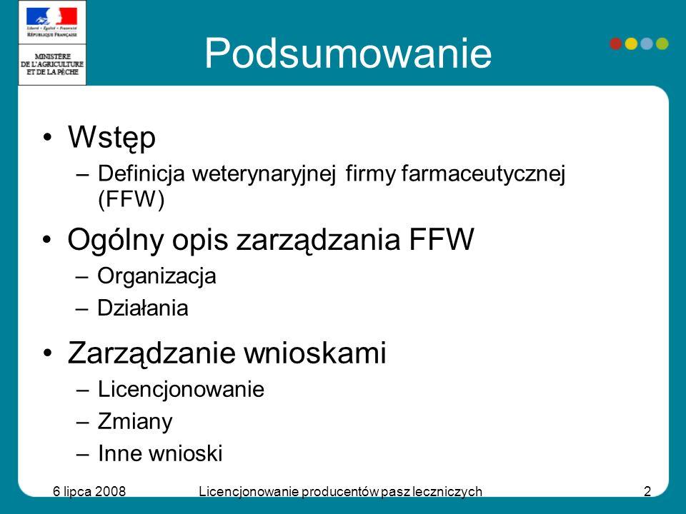 6 lipca 2008Licencjonowanie producentów pasz leczniczych2 Podsumowanie Wstęp –Definicja weterynaryjnej firmy farmaceutycznej (FFW) Ogólny opis zarządz
