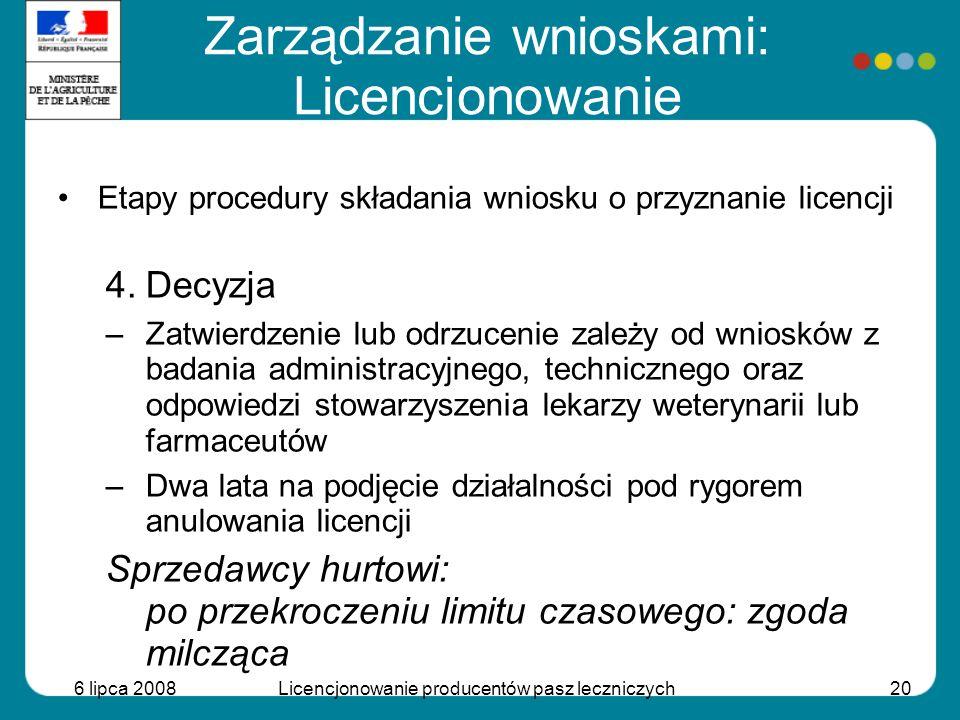 6 lipca 2008Licencjonowanie producentów pasz leczniczych20 Etapy procedury składania wniosku o przyznanie licencji 4.Decyzja –Zatwierdzenie lub odrzuc
