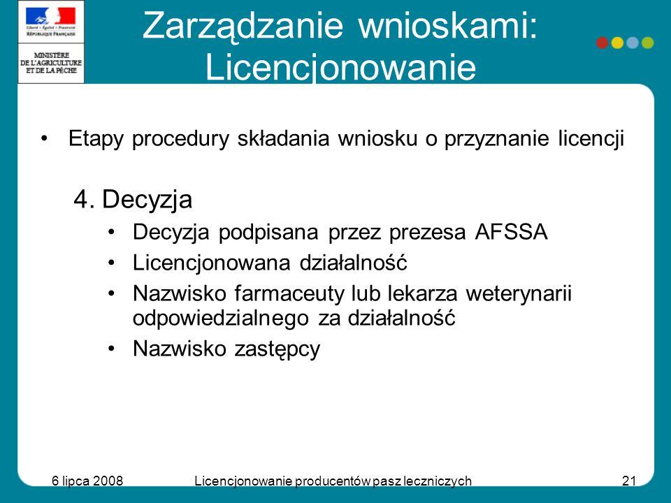 6 lipca 2008Licencjonowanie producentów pasz leczniczych21 Etapy procedury składania wniosku o przyznanie licencji 4.Decyzja Decyzja podpisana przez p