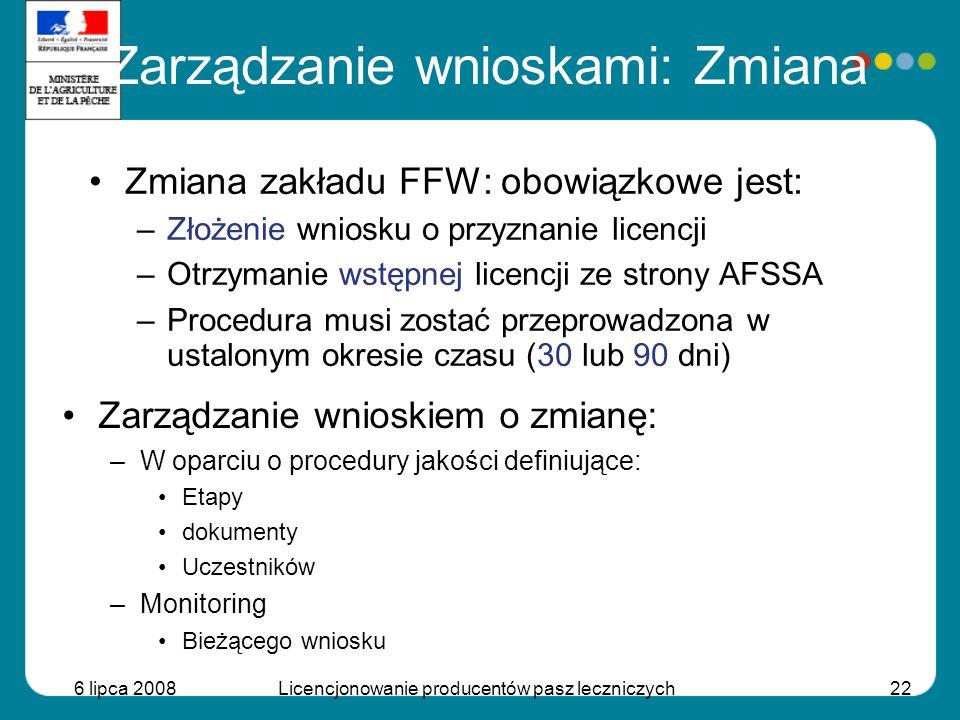 6 lipca 2008Licencjonowanie producentów pasz leczniczych22 Zmiana zakładu FFW: obowiązkowe jest: –Złożenie wniosku o przyznanie licencji –Otrzymanie w