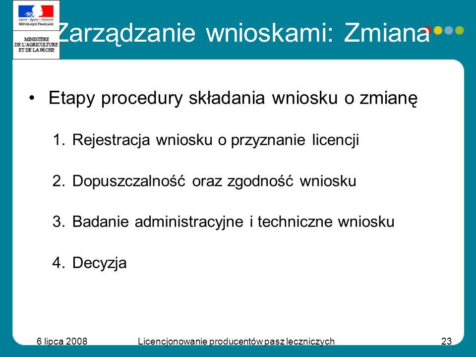 6 lipca 2008Licencjonowanie producentów pasz leczniczych23 Etapy procedury składania wniosku o zmianę 1.Rejestracja wniosku o przyznanie licencji 2.Do
