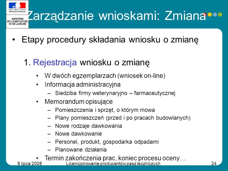 6 lipca 2008Licencjonowanie producentów pasz leczniczych24 Etapy procedury składania wniosku o zmianę 1.Rejestracja wniosku o zmianę W dwóch egzemplar