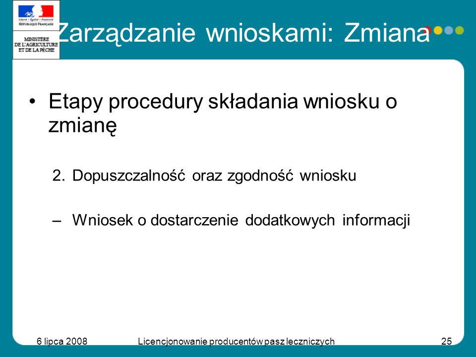 6 lipca 2008Licencjonowanie producentów pasz leczniczych25 Etapy procedury składania wniosku o zmianę 2.Dopuszczalność oraz zgodność wniosku –Wniosek