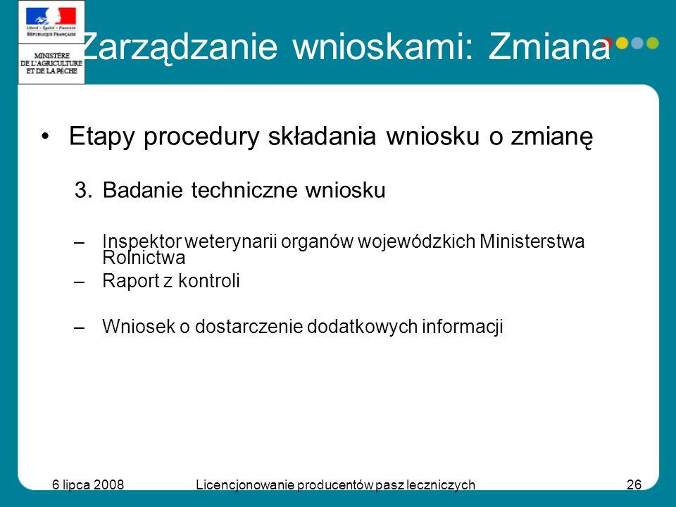 6 lipca 2008Licencjonowanie producentów pasz leczniczych26 Etapy procedury składania wniosku o zmianę 3.Badanie techniczne wniosku –Inspektor weteryna